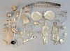 Sterling silver lot to include belt, knife rests, mesh bag, belt buckles and travel inkwell, 31.8 t.oz.