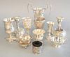 Sterling silver lot to include Tiffany & Co., two handled small dish along with two weighted S. Kirk & Son candlesticks, 25.7 t.oz.