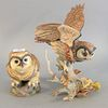 """Two Boehm porcelain owls, titles include """"Fledgling Great Horned Owl"""" and """"Boreal Owl"""", both stamped to the underside, tallest ht. 13""""."""