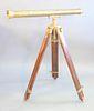 "Brass telescope, on wood and brass tripod, missing eye lense, lg. 30-1/2"" telescope."