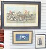 """Group of seven framed dog paintings and prints, a pencil and watercolor sketch of a dog, signed illegibly; a Jensen gouache of a dog; """"The Run of the"""