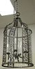 """Iron and curved glass chandelier with 4 lights, ht. 40"""", dia. 20""""."""