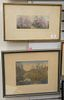 Group of six framed piece, Morgan Dennis etching of a dog; Fred Slocombe etching of farm landscape with a castle; small farm etching; Wallace Nutting
