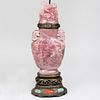 Chinese Rose Quartz Vase and Cover Mounted as a Lamp