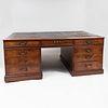 George III Carved Mahogany Pedestal Desk