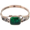 C1780 Antique Green Clear Paste Gold Ring W Basket Setting