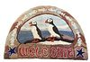 """Jill Beckwith Puffin """"Welcome"""" Hooked Rug"""