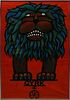 """Hubert Hilscher """"Cryk"""" The Lion Poster, Mid-Century"""