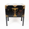 Japanese decorated black lacquered wood trunk on a custom iron stand (1868-1912)