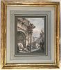 Classical Capriccio with Ruins and Figures by Charles Louis Clerisseau