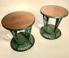 A Pair of Rare Art Deco Rattan Lamp Tables