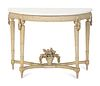 A Louis XVI Grey-Painted Console Height 34 1/2 x length 45 x depth 22 inches.