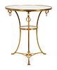 A Directoire Style Gilt-Bronze and Marble Gueridon Height 27 1/2 x diameter 24 inches.