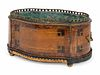 A Napoleon III Inlaid Fruitwood Jardiniere Height 6 1/2 x length 13 1/2 x width 9 1/2 inches.