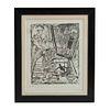 ALFREDO ZALCE. Sin título. Firmada a lápiz y en plancha. Xilografía P / T. 58 x 46 cm