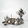 Eight-piece Russian .875 Silver Tea and Coffee Service, Moscow, c. 1868, Pavel Ovchinnikov, maker, Viktor Savinkov, assayer, monogramme