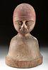 Early 20th C. Burkina Faso Lobi Painted Wood Bust