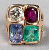 14K Yellow Gold Diamond & Colored Stone Ring