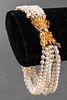 14K Yellow Gold Clasp Multi-Strand Pearl Bracelet