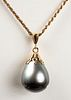 14K Yellow Gold Grey Baroque Pearl Pend. Necklace