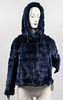 Amina Rubinacci Blue Rabbit Fur Hooded Coat/Jacket