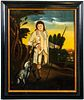 "Provincial ""Shepherd Boy with Dog"" Oil on Board"
