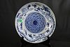 Blue and White Porcelain Large Plate, 'Dragon and Phoenix Chasing Flaming Pearl'