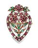 AN EARLY VICTORIAN HEART SHAPED RUBY, EMERALD AND DIAMOND F