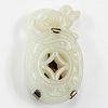 Chinese White Jade Dog Pendant Silver Pin