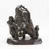 19th c. Chinese Bronze Water Dropper w/ Stand
