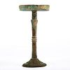 Large Chinese Han Dynasty Bronze Lamp w/ Base