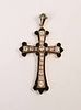 14K Yellow Gold Black Enamel and Diamond Cross