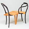Two Martino Gamper Ebonized Wood 'Seating and Sitting' Chairs