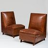 Pair of French Art Deco Leather Club Chairs with Canted Backs