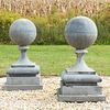 Pair of Large Zinc Orb Finials Mounted on Cement Bases