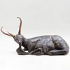 Horn Mounted Carved and Painted Figure of a Recumbent Stag, Possibly Southeast Asian