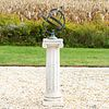 Patinated Metal Armillary Sphere on a Stone Columnar Base