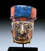 Huari Wood Poporo Head w/ Gold & Inlays (Lapis & Shell)