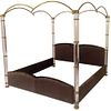 King-Size Lucite & Brass Poster Bed by Marcello Mioni