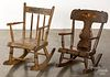 Two Pennsylvania painted child's rocking chairs