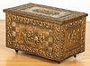 Embossed brass wood box
