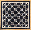 Blue and white pieced quilt, late 19th c.