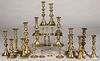 Collection of brass candlesticks