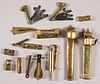 Brass locks, pen cases, bleeders, etc.