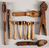 Carved wood utensils and tools.