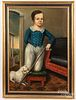 Oil on canvas portrait of a boy and dog