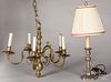 Brass chandelier, together with a table lamp