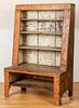 Primitive painted pine canted back open cupboard