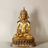 A Gem Inlaid Gild Bronze Statue of Samantabhadra Bodhisattva