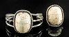 Egyptian Stone Scarabs in Silver Bracelet & Ring